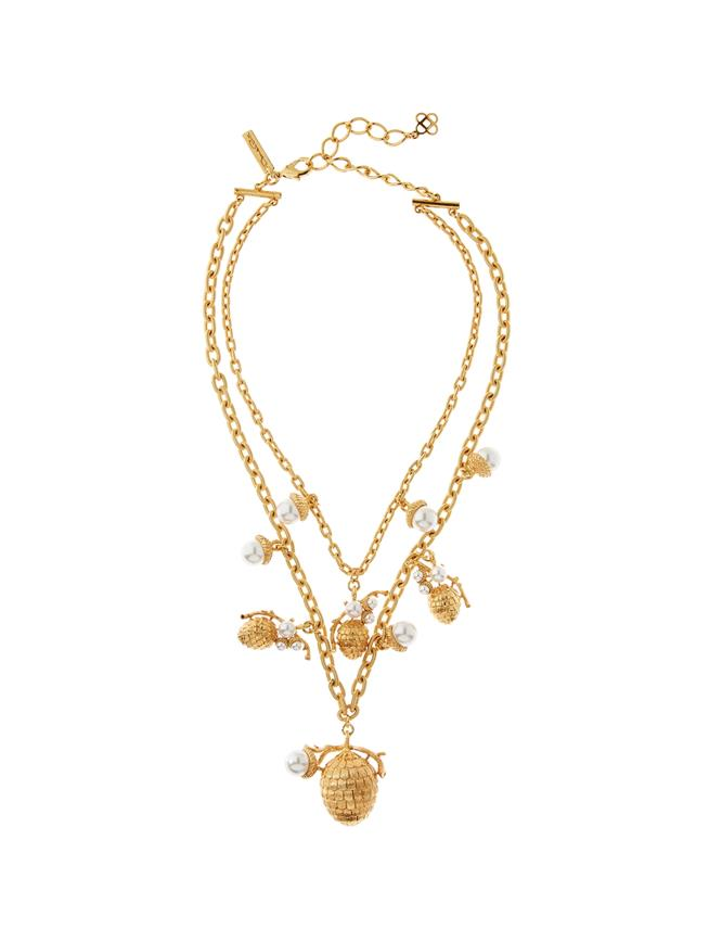 Pearl Pinecone Necklace  Gold