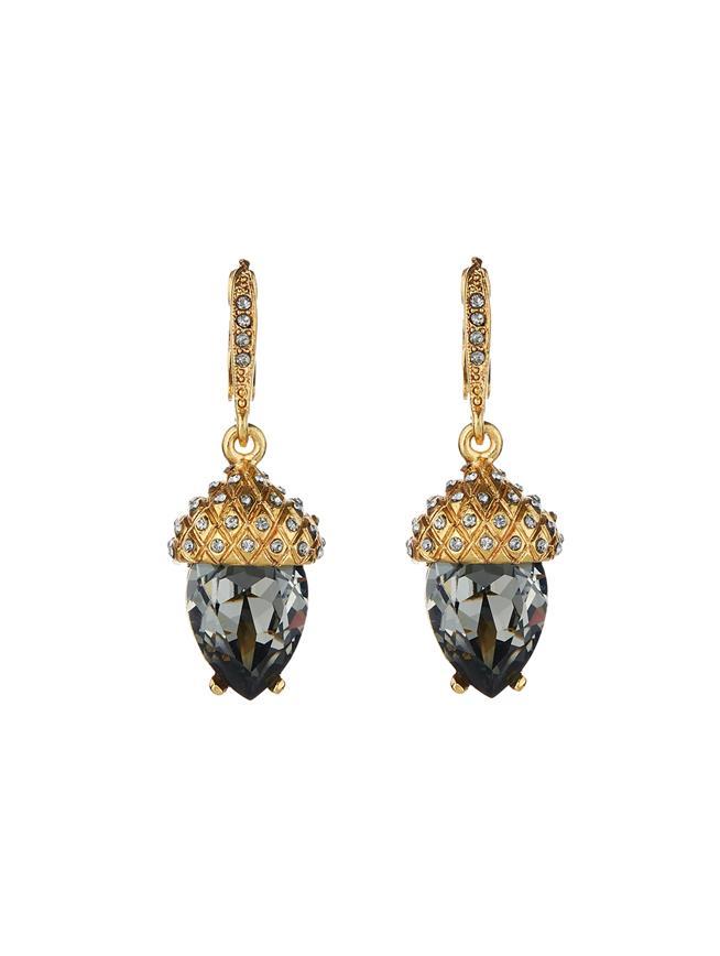Pavé Acorn Drop Earrings  Black diamond