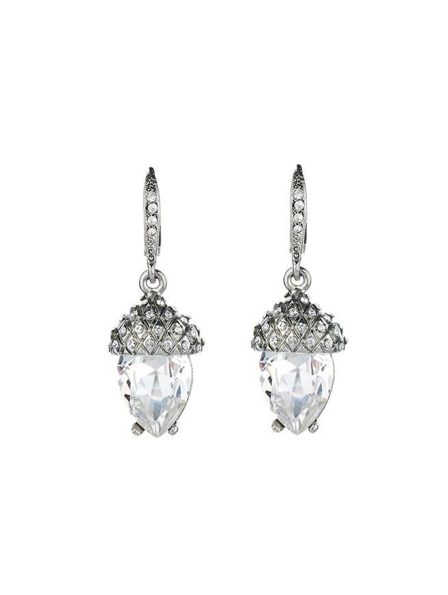 Pavé Acorn Drop Earrings  Crystal