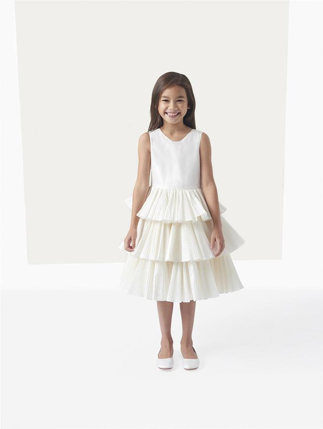 Taffeta Tiered Flower Girl Dress Ivory