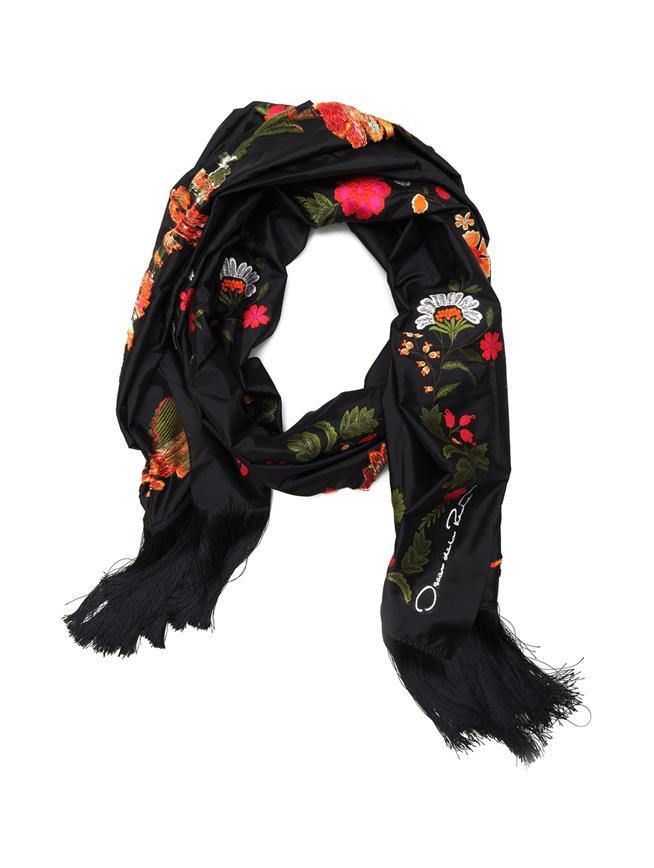 Floral Border Scarf Black