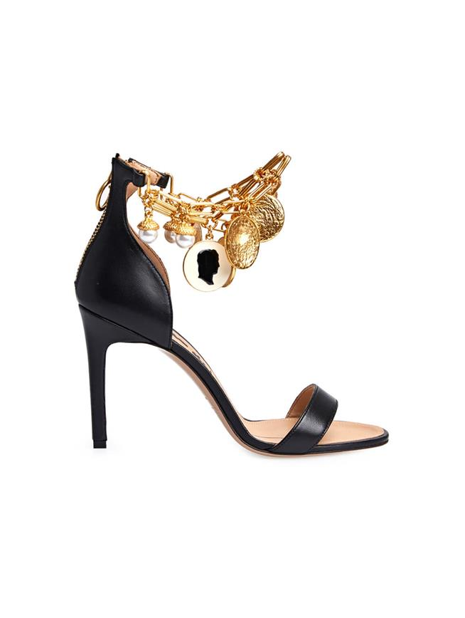 Charm Jewel and Leather Sandal Black