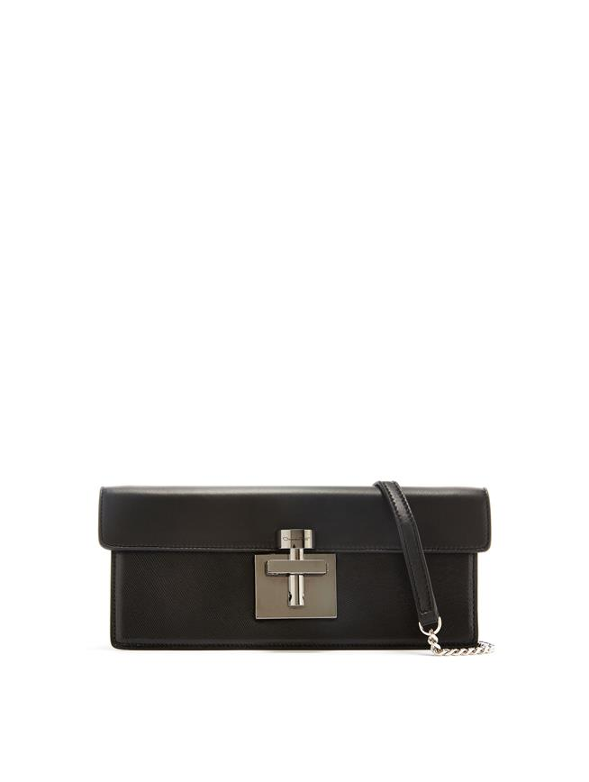 Black Leather Alibi Clutch Black