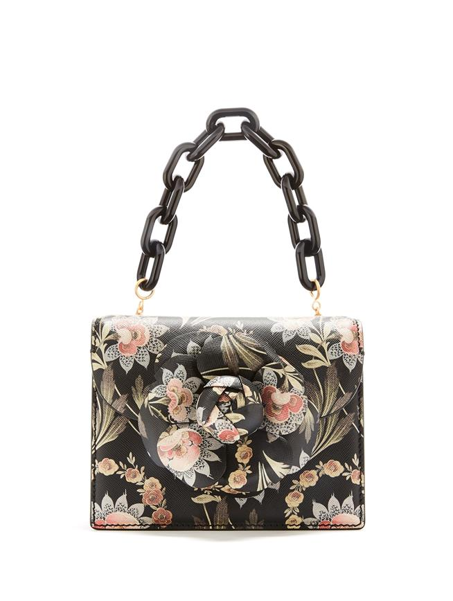 Printed Leather Mini TRO Bag Black