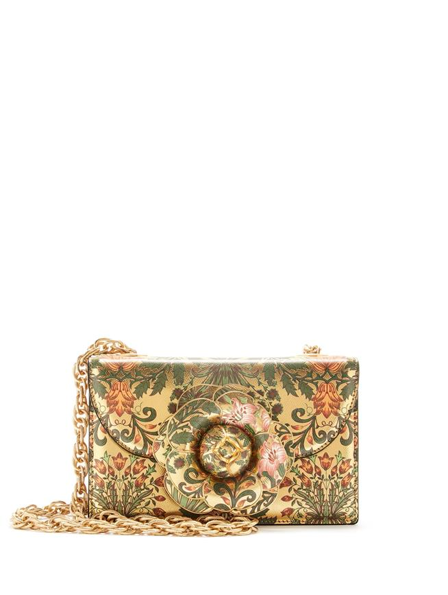 Printed Metallic Leather TRO Bag Gold