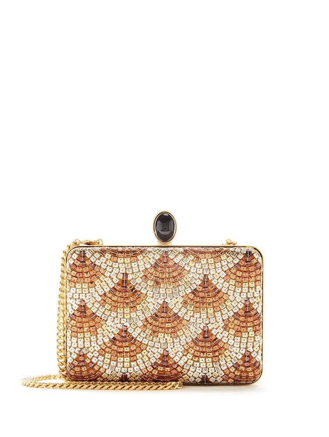 Sequin-Embroidered Silk Rogan Clutch Gold