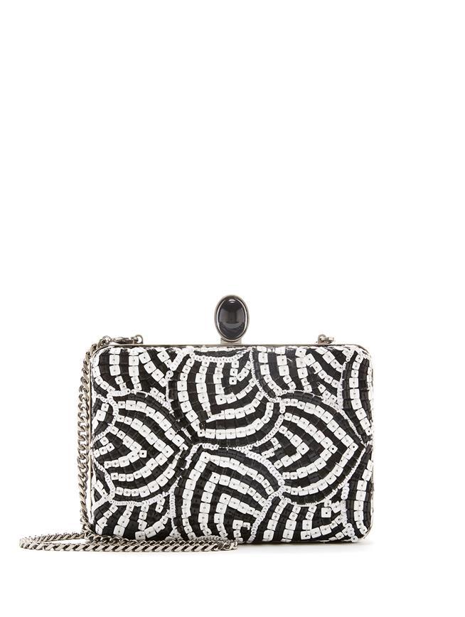 Sequin-Embroidered Silk Rogan Clutch Black/White