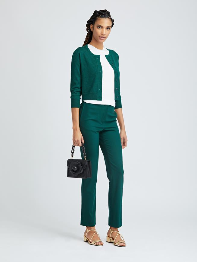 Double-Face Stretch-Wool Skinny Pants Basil