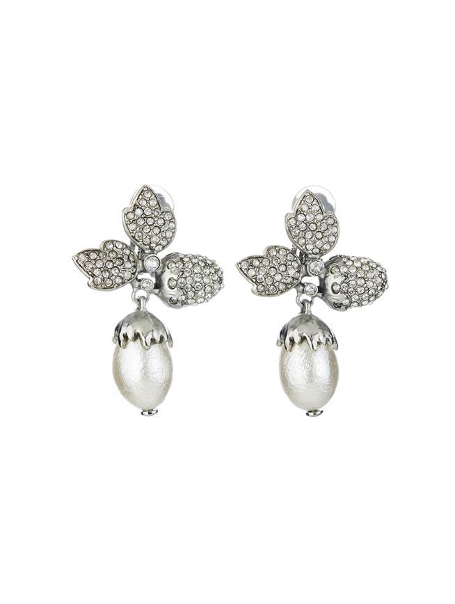 Pavé Leaf Acorn Earrings  Cry Shade/Silver