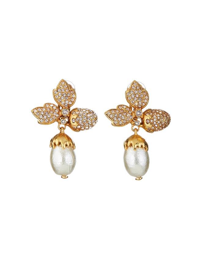 Pavé Leaf Acorn Earrings  Silk