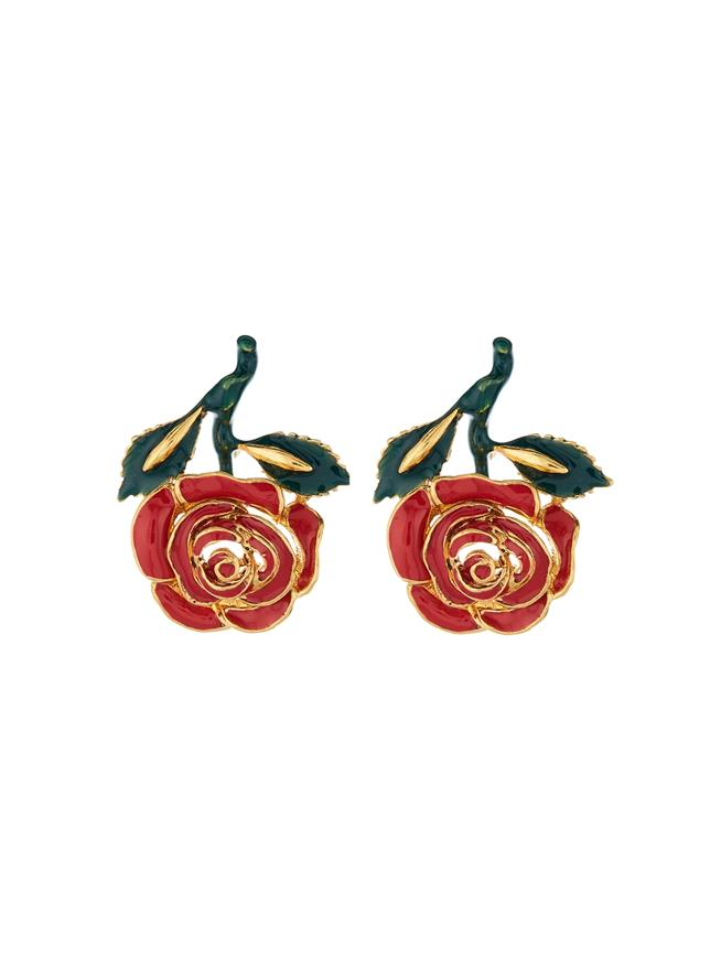 Petite Rose Resin Earrings  Red