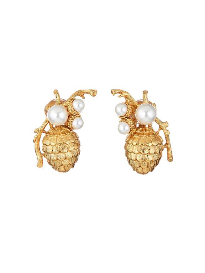 Pearl Pinecone Earrings  Gold