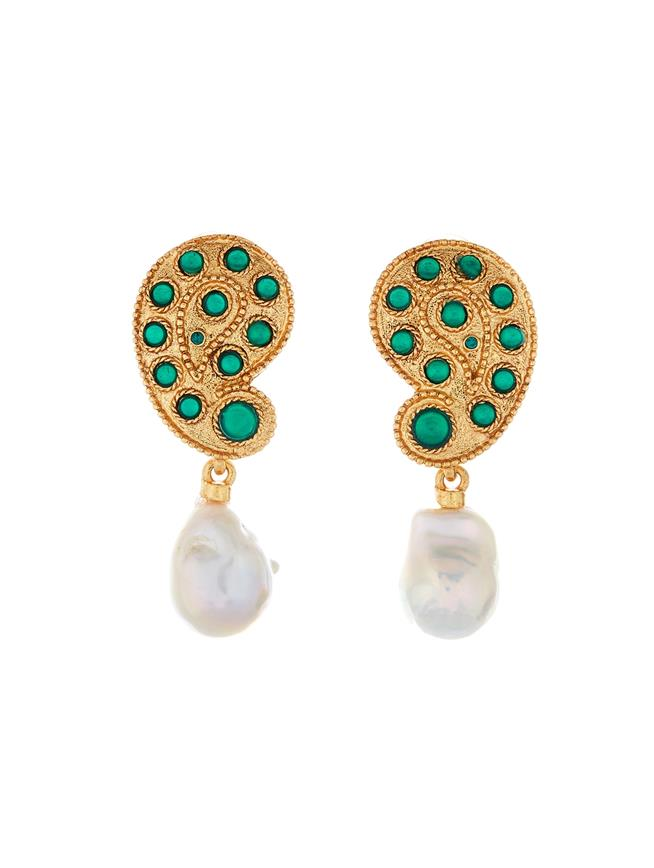 Taj Earrings  Emerald