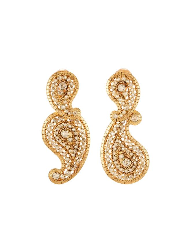 Pavé Paisley Earrings  Cry Gold Shadow