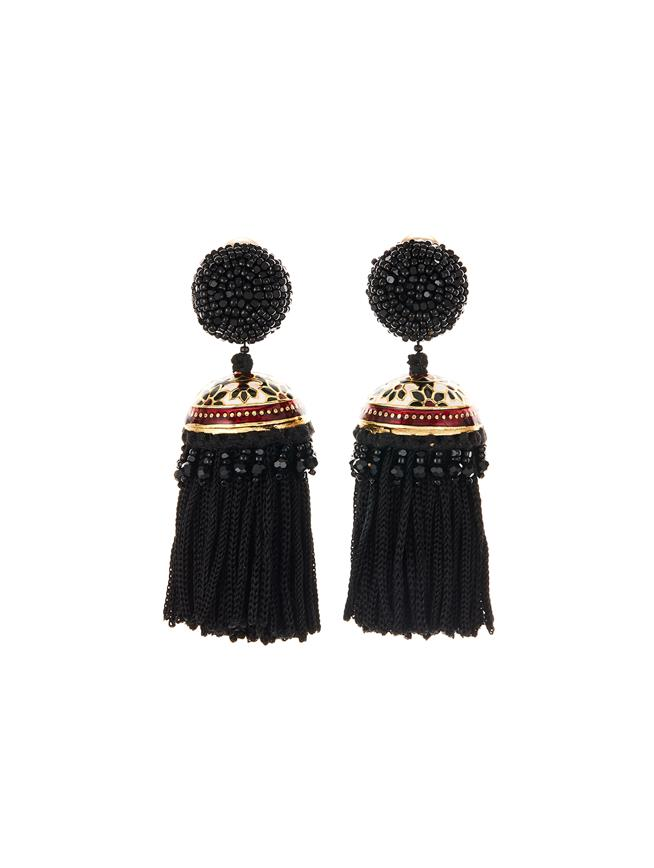 Mosaic Tassel Earrings  Black