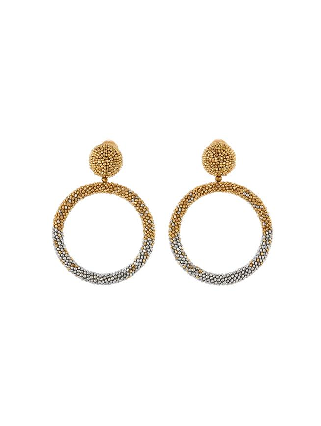 Beaded Hoop Earrings  Gold