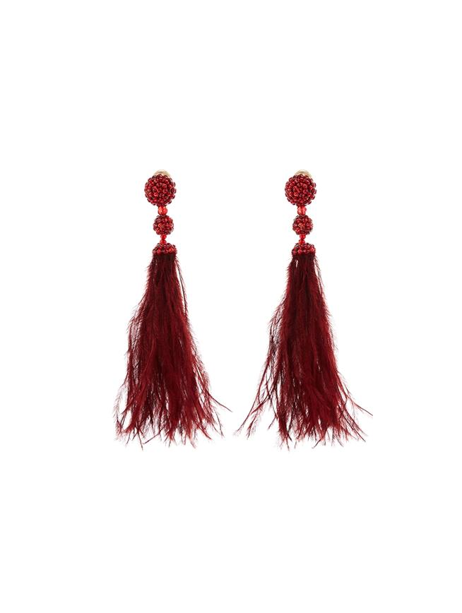 Beaded Feather Earrings  Cranberry