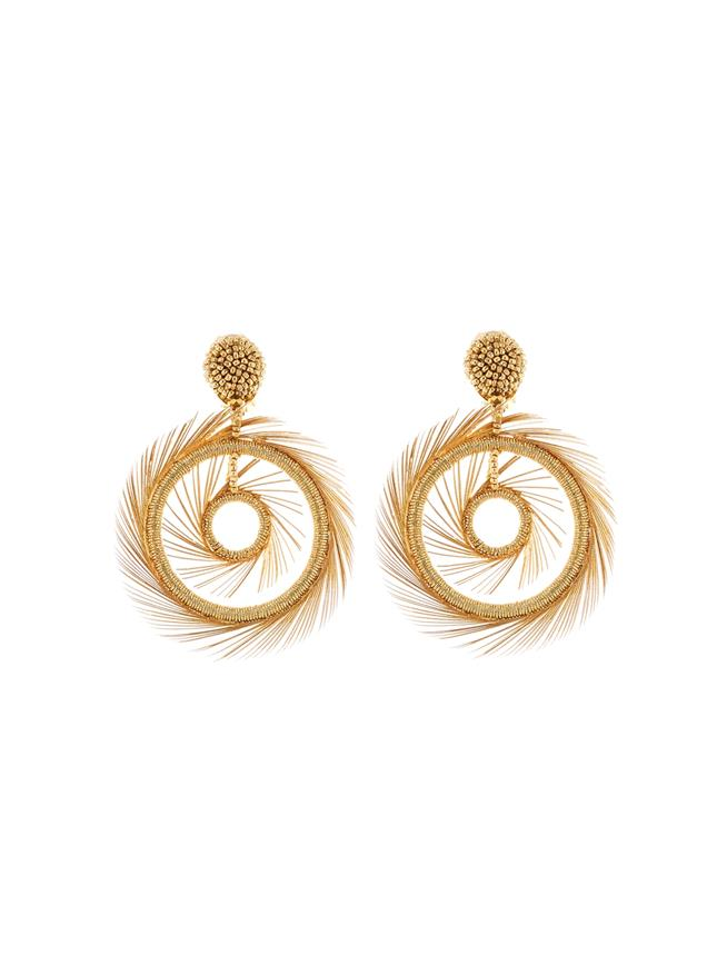 Beaded Feather Hoop Earrings  Gold