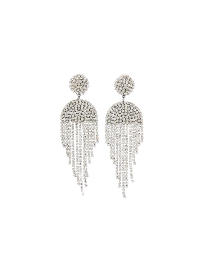 Crystal Draped Fringe Earrings  Crystal