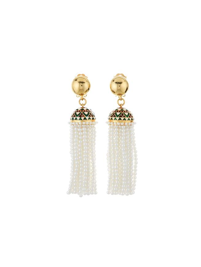 Mosaic Tassel Earrings  White