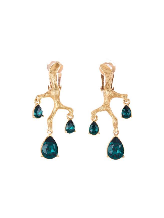 Branch Crystal Earrings  Emerald
