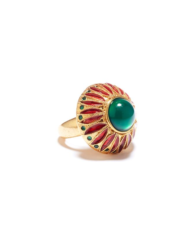 Peacock Ring  Emerald