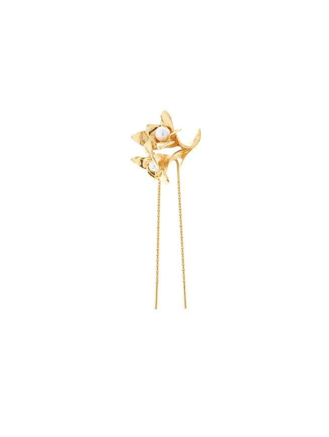 Pearl Flower Hair Pin  Gold