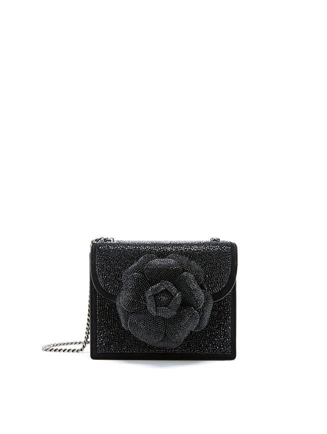 Black Swarovski Mini TRO Bag  Black