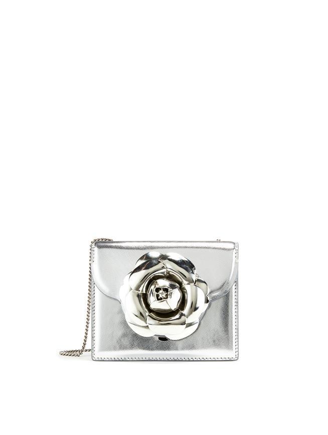 Silver Leather Mini TRO Bag Silver