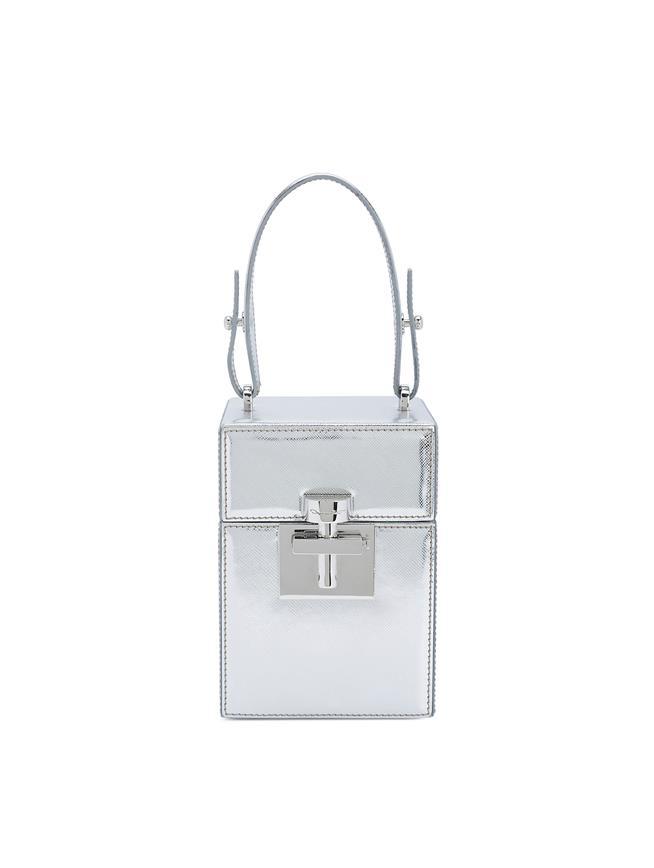 Silver Saffiano Mini Alibi Bag Silver