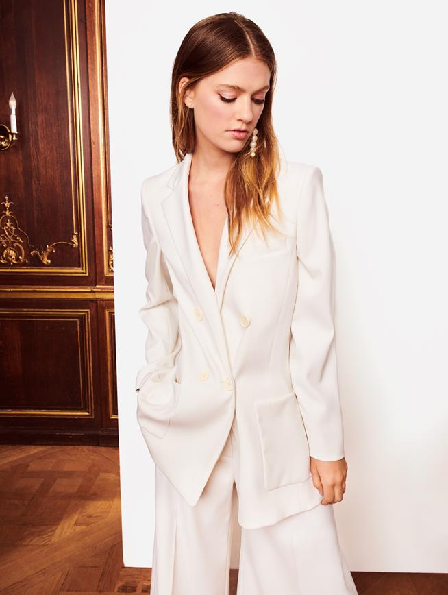 Double-Breasted Gabardine Jacket Ivory