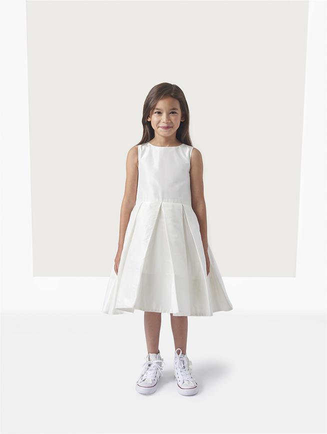 Taffeta Box Pleat Flower Girl Dress with Cape Ivory