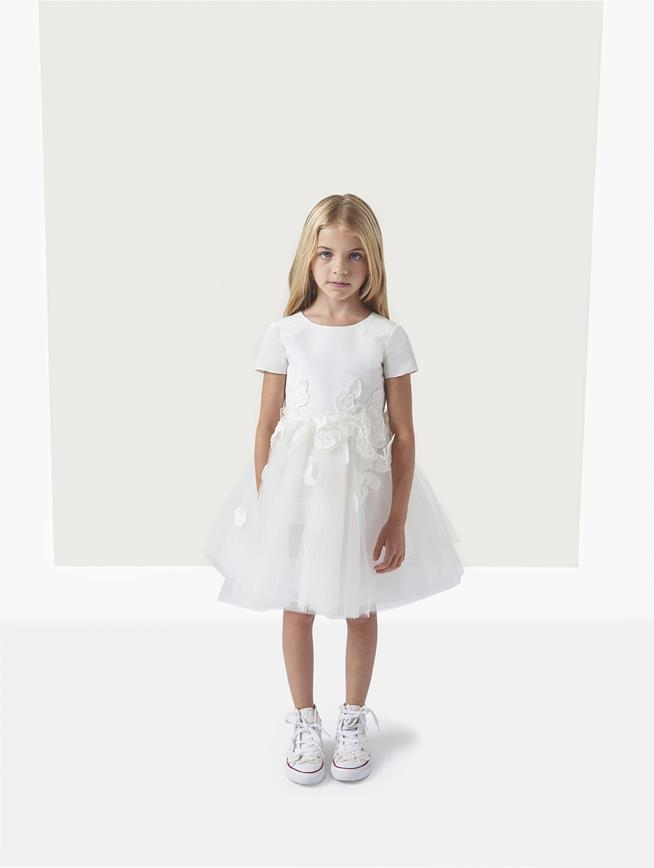 Silk Faille Tulle Embroidery Flower Girl Dress  White