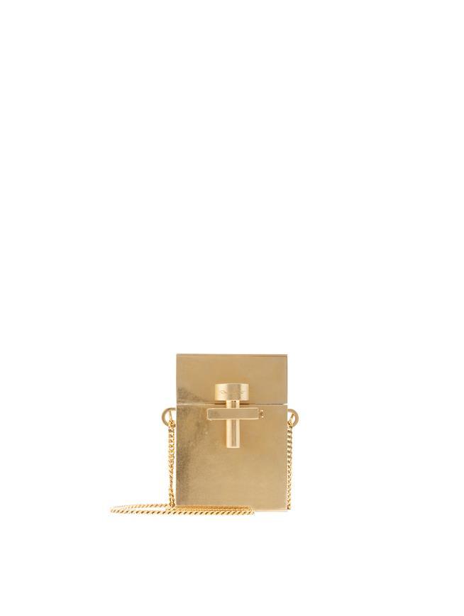 Gold Metal Mini Alibi Bag Gold