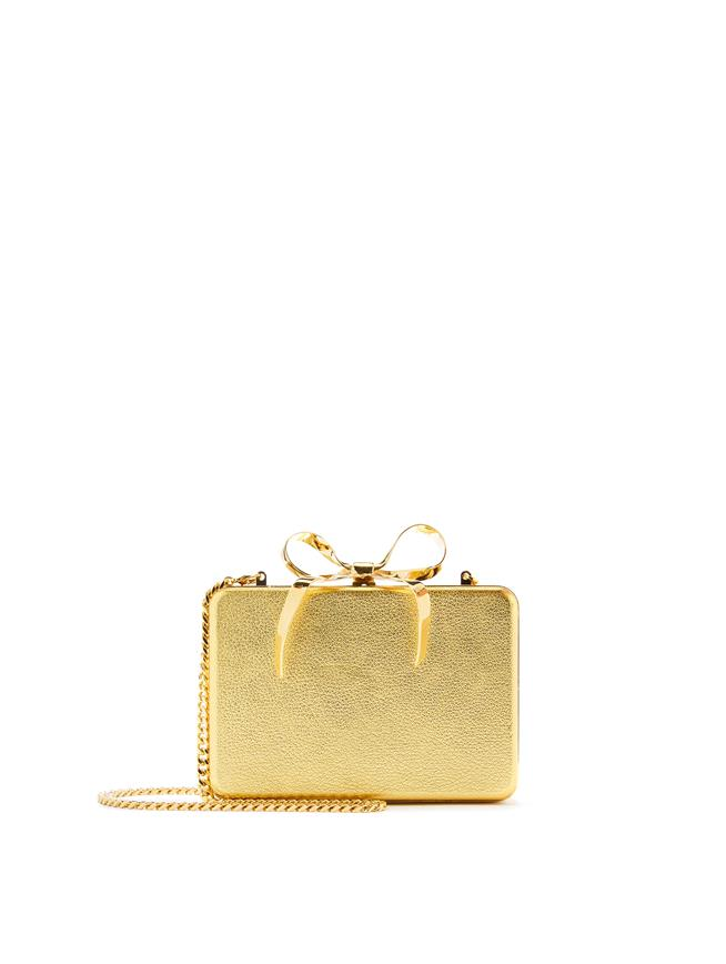 Leather Bow Rogan Clutch Gold