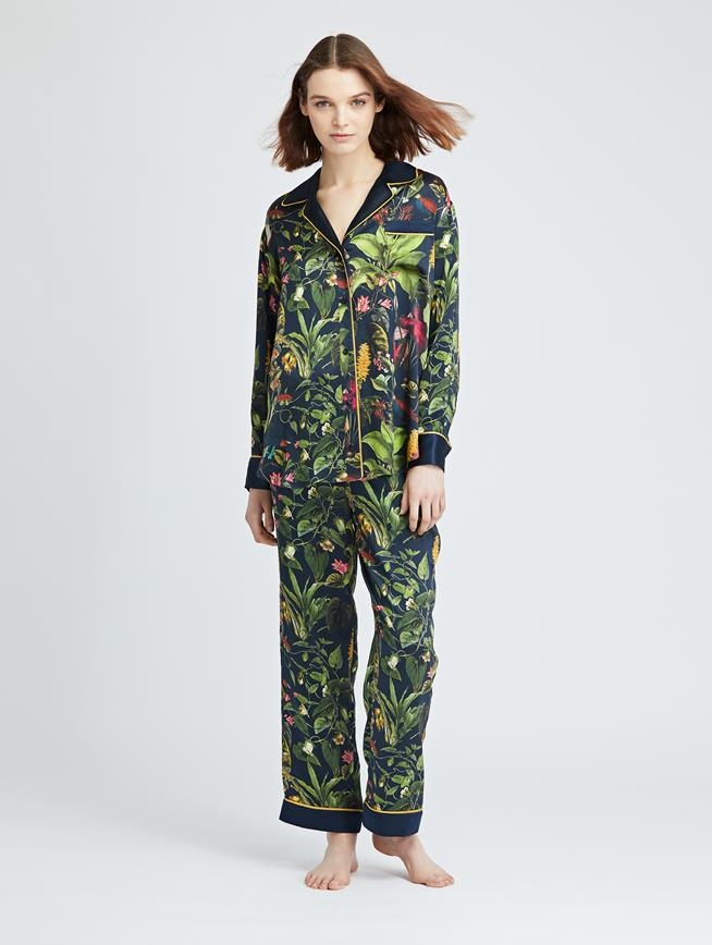 Toucan Jungle Silk-Charmeuse Pajama Pant MULTI