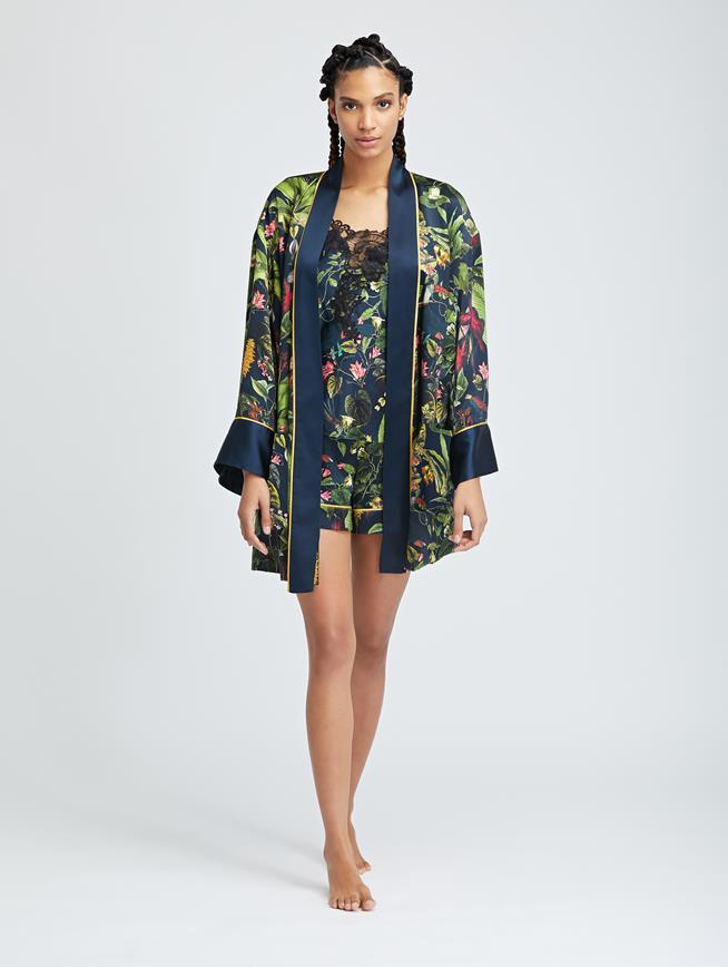 Toucan Jungle Silk-Charmeuse Robe MULTI