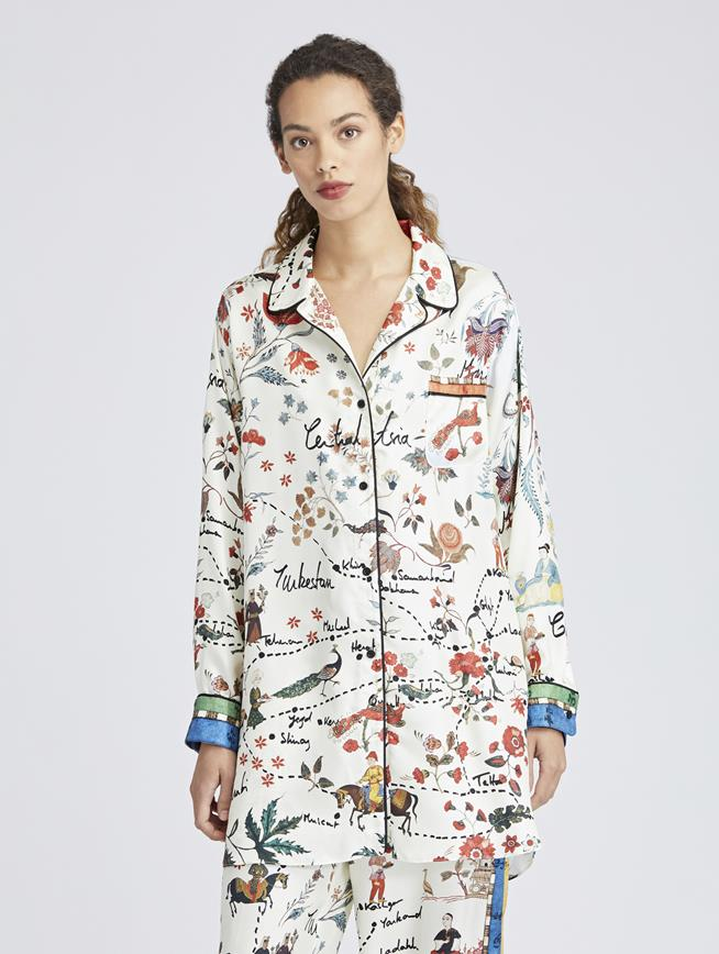 Silk Road King Twill Pajama Shirt MULTI
