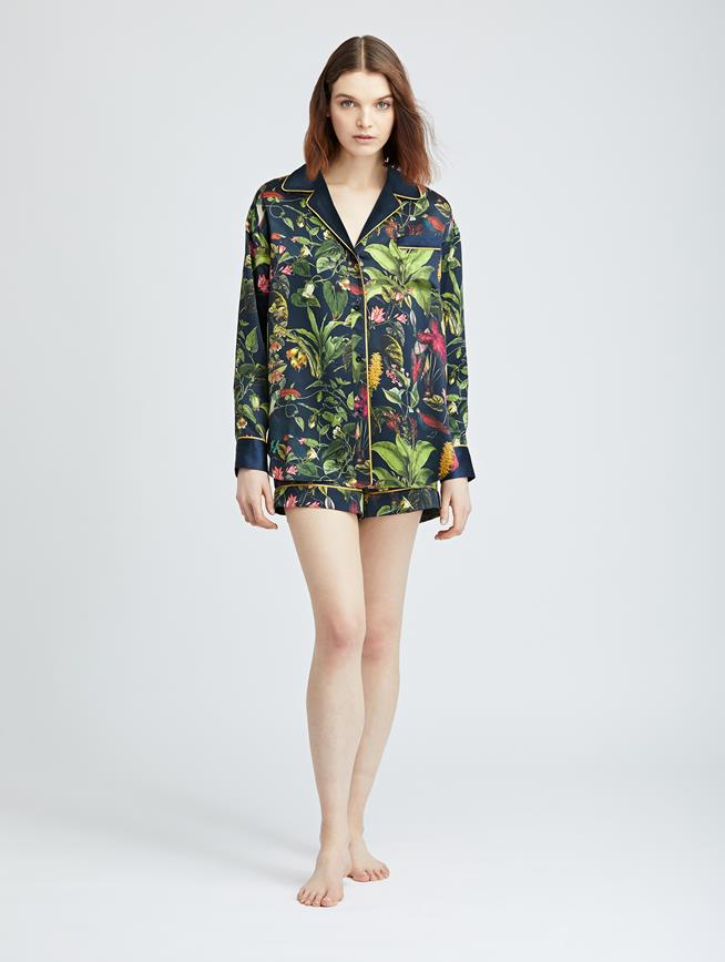 Toucan Jungle Silk-Charmeuse Pajama Shirt Navy