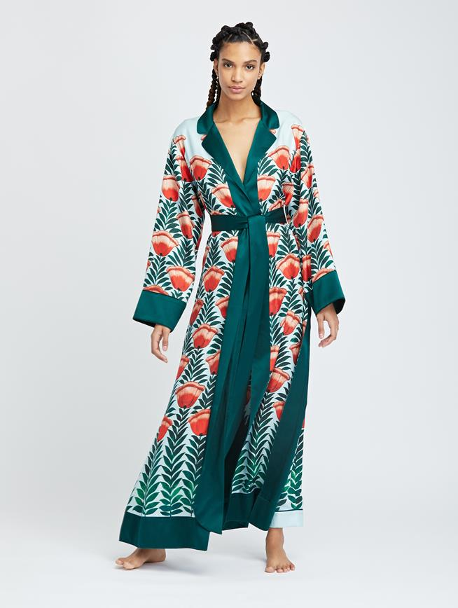 Tulip Fields Silk-Twill Long Robe MULTI
