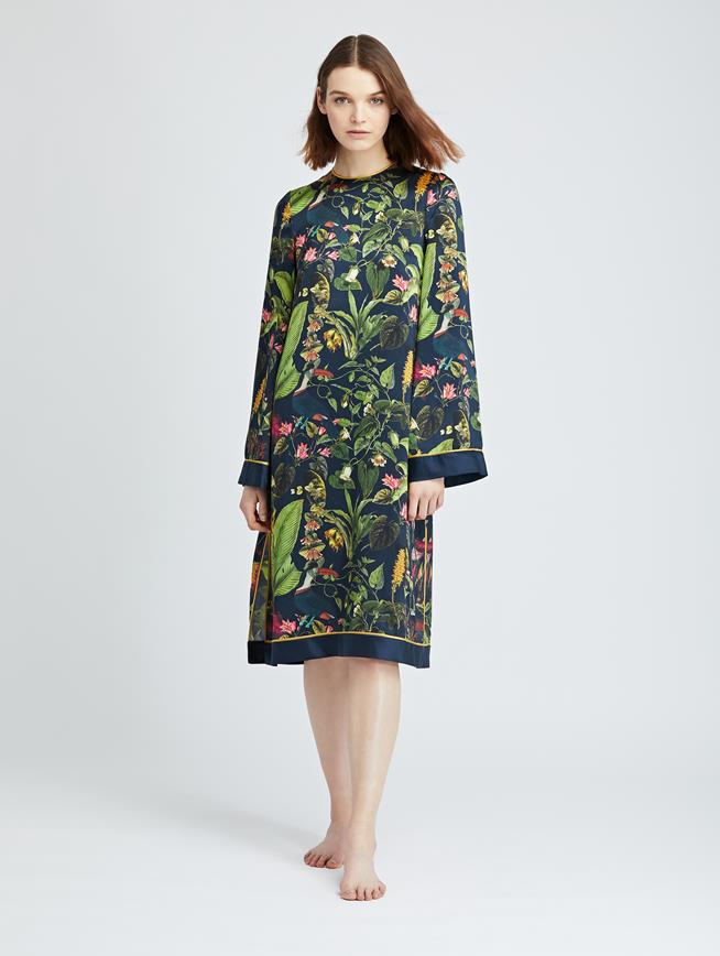 Toucan Jungle Silk-Charmeuse Caftan Navy