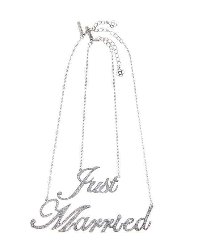 Just Married Necklace Crystal/Silver