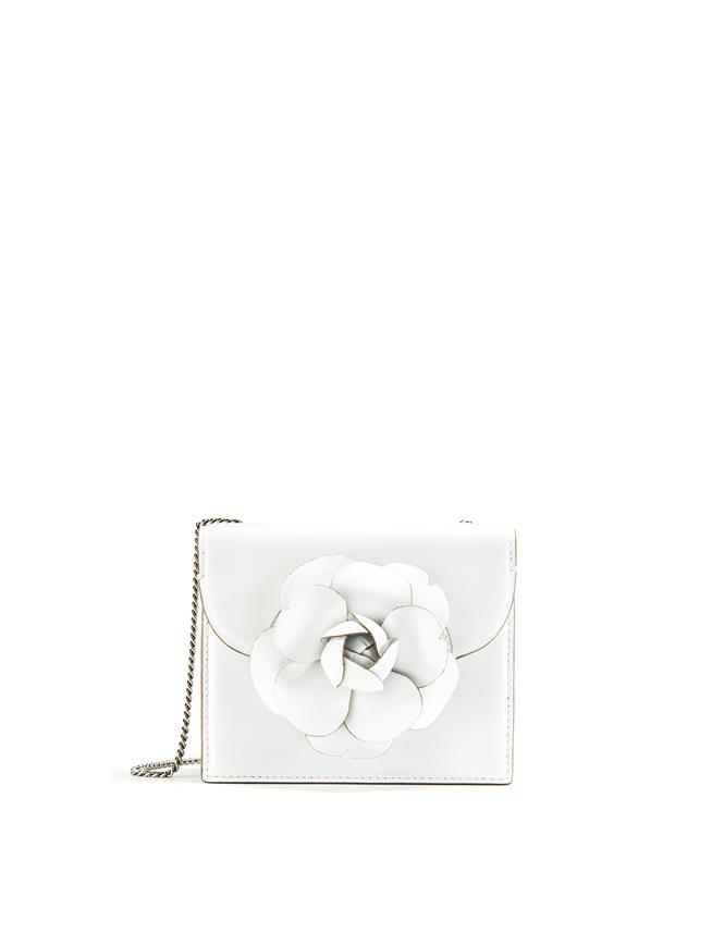 WHITE LEATHER MINI TRO BAG White