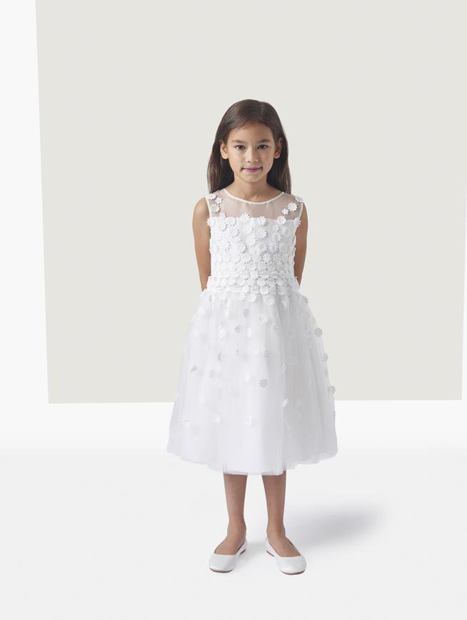 ELYSE FLORAL DÉGRADÉ ORGANZA AND TULLE DRESS White