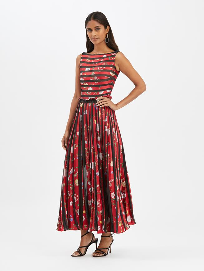 Jacquard and Fil Coupé Gown Red Multi