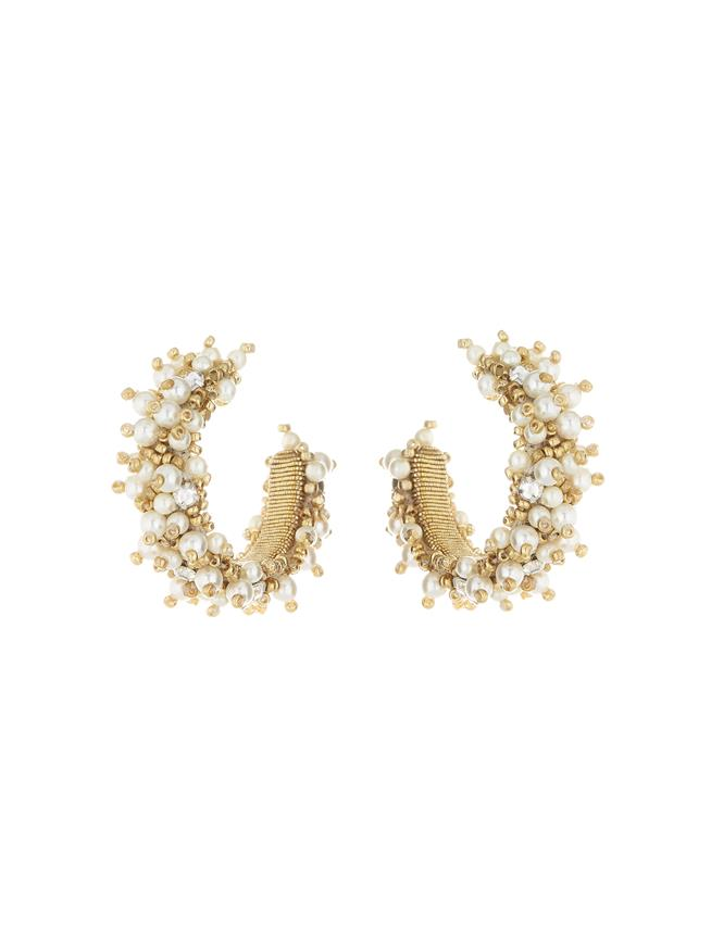 Pearl Hoop Earrings Gold
