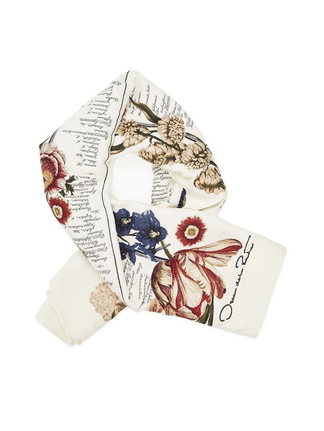 Floral Calligraphy Wool-Blend Scarf Ecru Multi