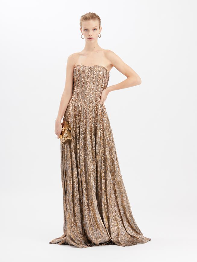 Lamé Mousseline Gown Dark Gold