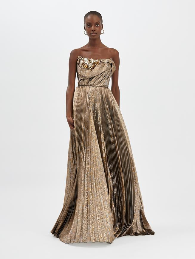 Lamé Mousseline Gown Dark Gold