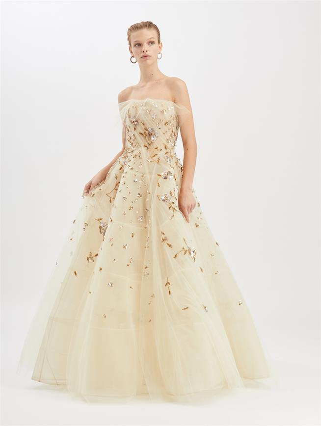 Embroidered Tulle Gown Beige/Gold